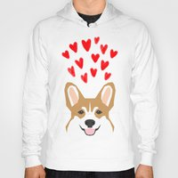 valentines Hoodies featuring Valentines - Love Corgi  by PetFriendly