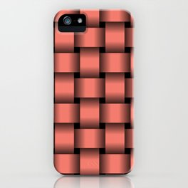 Large Salmon Pink Weave iPhone Case