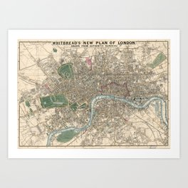 Vintage London Map - 1853 Art Print