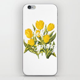 Hello Spring | Yellow tulips iPhone Skin