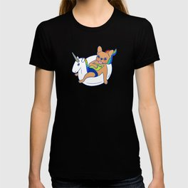 Frenchie enjoys summer on unicorn pool float in swimming pool T-shirt
