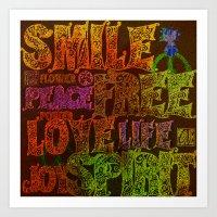 hippie Art Prints featuring Hippie by BLOOP