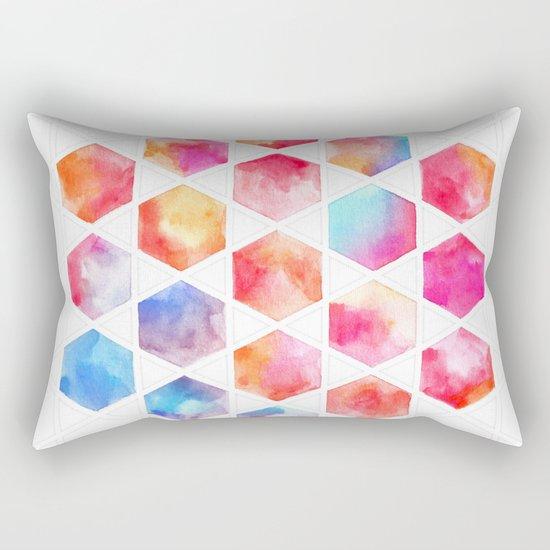 Radiant Hexagons - geometric watercolor painting Rectangular Pillow