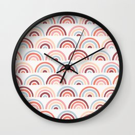 Stamped Rainbows - Maroon Wall Clock