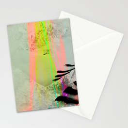 Abstract landscape sweep neon Stationery Cards