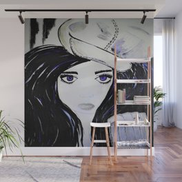 Girl with Black Hair and Hat. Blue Eyes Hand Painted by Jodi Tomer Wall Mural