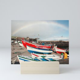 Rainbow at the harbour Mini Art Print