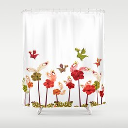 Imaginary Vintage Feather Flower Dragons Shower Curtain