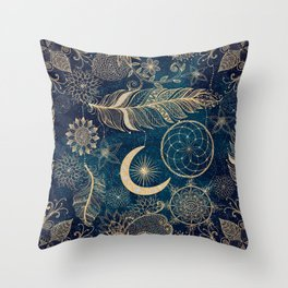 Whimsy Gold Glitter Dreamcatcher Feathers Mandala Throw Pillow