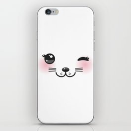 Kawaii funny cat with pink cheeks and winking eyes on white background iPhone Skin