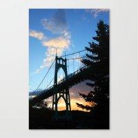 marc johns Canvas Prints featuring St Johns Bridge. by DAVID BIRKBECK
