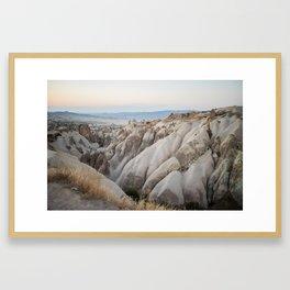 Sunset over a valley in Cappadoccia, Turkey Framed Art Print