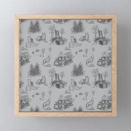 Eurasian Wolf Toile Pattern (Gray) Framed Mini Art Print