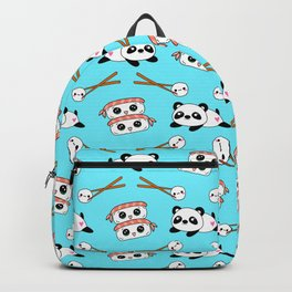 Cute funny Kawaii chibi little playful baby panda bears, happy sweet cheerful sushi with shrimp on top, rice balls and chopsticks light pastel blue pattern design. Nursery decor. Backpack