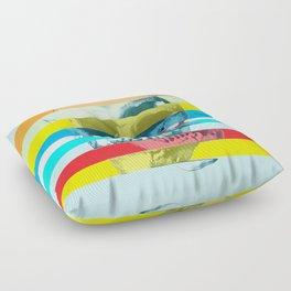 Striped Glitch Skull Floor Pillow