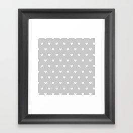 HEARTS ((white on calm gray)) Framed Art Print