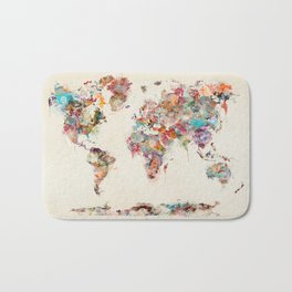 world map watercolor deux Bath Mat