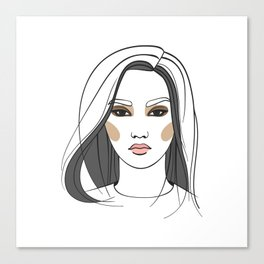 Asian woman with long hair. Abstract face. Fashion illustration Canvas Print