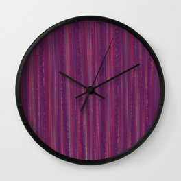 Stripes  - purple and red Wall Clock