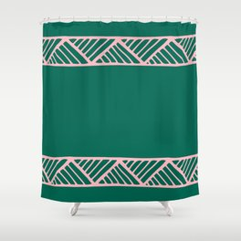 Boho Ethnic Pattern No 01 - Pink and Green Shower Curtain