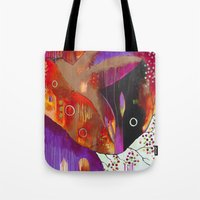 "flora bowley Tote Bags featuring ""Reflect You"" Original Painting by Flora Bowley by Flora Bowley"