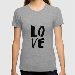 LOVE black and white monochrome typography poster design home wall bedroom decor T-shirt