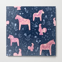 Swedish Dala Horse and Rooster Blue and Pink Pattern Metal Print