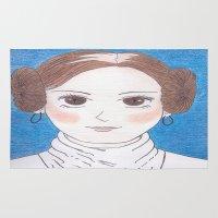 princess leia Area & Throw Rugs featuring Princess Leia Inspired by Jennifer Tye