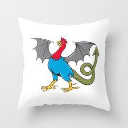 Basilisk Bat Wing Crowing Cartoon Throw Pillow