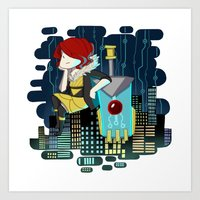 transistor Art Prints featuring Transistor Welcome to Cloudbank by Cycha