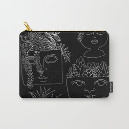 Illustrated Plant Faces in Black Carry-All Pouch