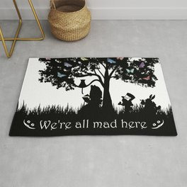 We're All Mad Here III - Alice In Wonderland Silhouette Art Rug