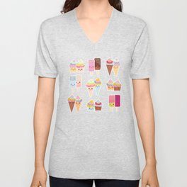 Kawaii cupcakes, ice cream in waffle cones, ice lolly Unisex V-Neck