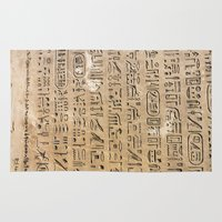 egypt Area & Throw Rugs featuring Egypt Hieroglyphs by Manuela Mishkova
