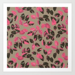 Philodendron Pink Princess Rare Tropical Houseplant Pattern Art Print