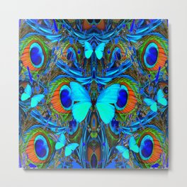 ELECTRIC NEON BLUE BUTTERFLIES & BLUE PEACOCK FEATHERS Metal Print