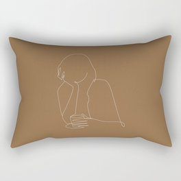 Line art abstract girl with coffee illustration Rectangular Pillow
