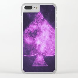 Spade symbol. Playing card. Abstract night sky background Clear iPhone Case