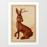 jackalope Art Prints featuring Jackalope by Sarah DC