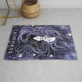 Calm, Calmness, Girl with Long Hair, Purple Painting, Watercolor Meditation Rug