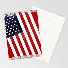 American Distressed Halftone Denim Flag Stationery Cards