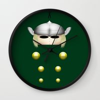 thor Wall Clocks featuring Thor by Oblivion Creative