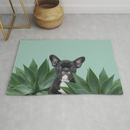 French Bulldog between agave leaves Rug