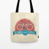 brompton Tote Bags featuring Born to Ride by Wyatt Design