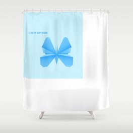 Blue Butterfly Aunty - Origami Blue Butterfly Shower Curtain