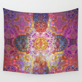 Glowing Glass Fire Star Mandala Wall Tapestry