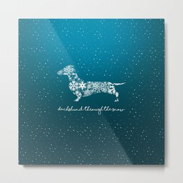 Dachshund Through The Snow Metal Print