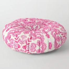 Hot Pink & Soft Cream Folk Art Pattern Floor Pillow
