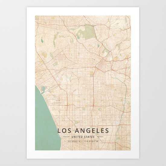 Los Angeles, United States - Vintage Map by designermapart