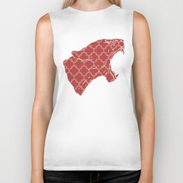 PANTHER SILHOUETTE HEAD WITH PATTERN Biker Tank